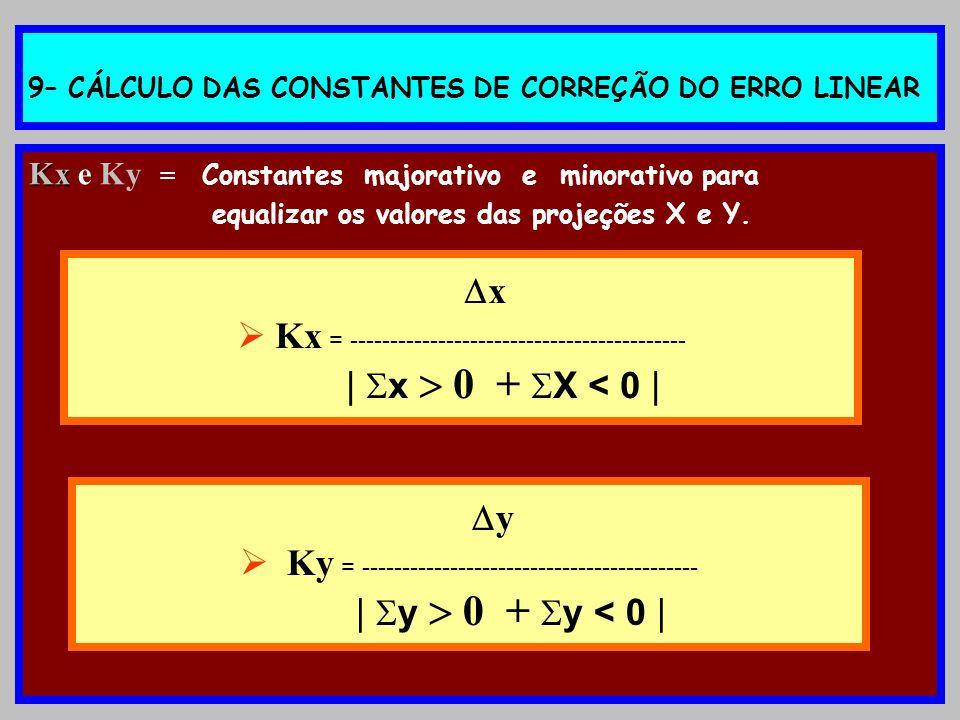 9– CÁLCULO DAS CONSTANTES DE CORREÇÃO DO ERRO LINEAR Kx Kx e Ky = Constantes majorativo e minorativo para equalizar os valores das projeções X e Y. x