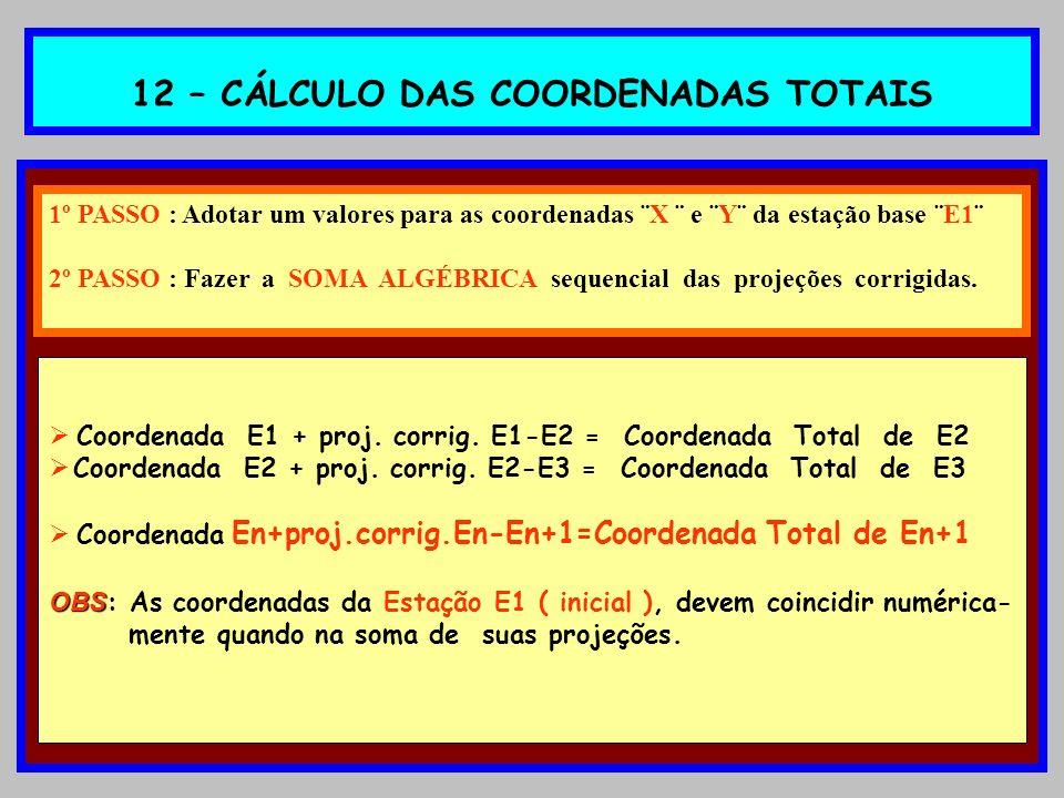 12 – CÁLCULO DAS COORDENADAS TOTAIS 1º PASSO : Adotar um valores para as coordenadas ¨X ¨ e ¨Y¨ da estação base ¨E1¨ 2º PASSO : Fazer a SOMA ALGÉBRICA