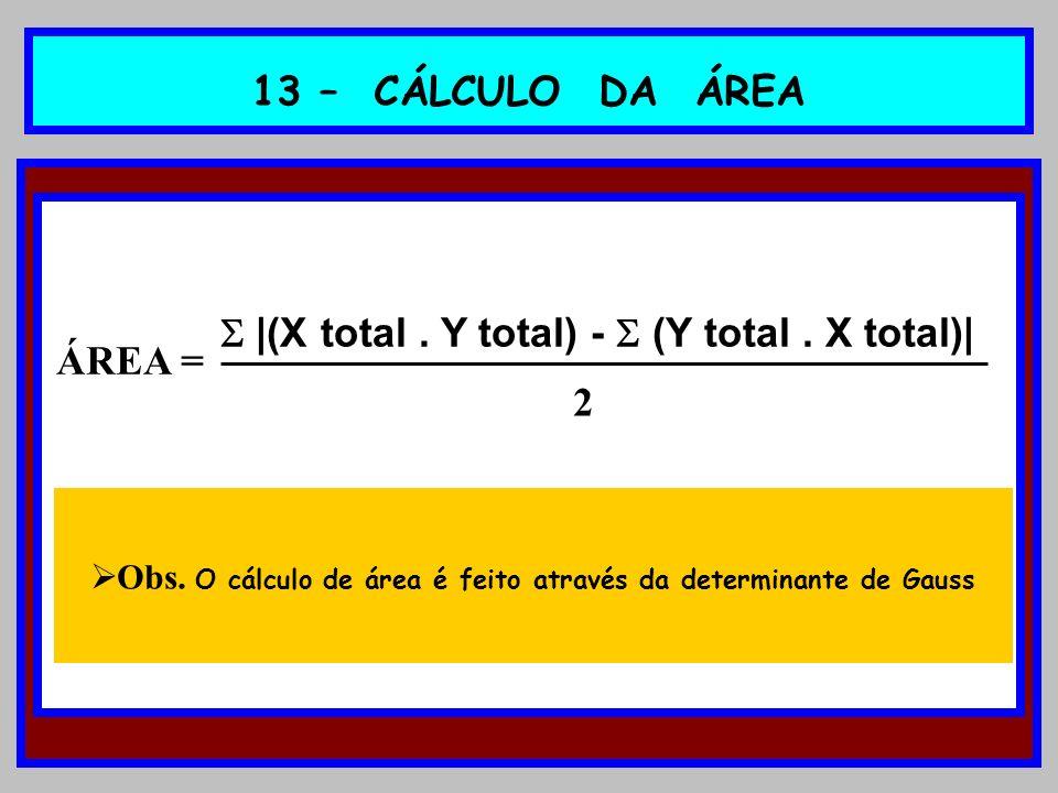 13 – CÁLCULO DA ÁREA |(X total. Y total) - (Y total. X total)| Obs. O cálculo de área é feito através da determinante de Gauss 2 ÁREA =