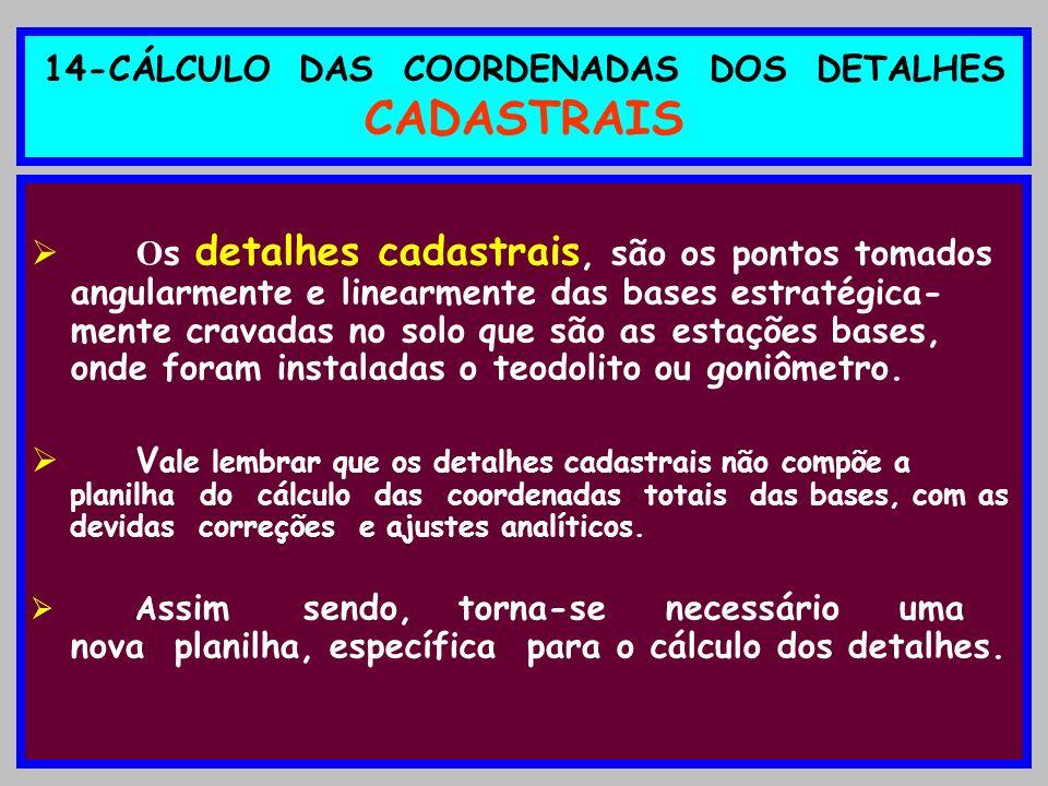14-CÁLCULO DAS COORDENADAS DOS DETALHES CADASTRAIS O s detalhes cadastrais, são os pontos tomados angularmente e linearmente das bases estratégica- me