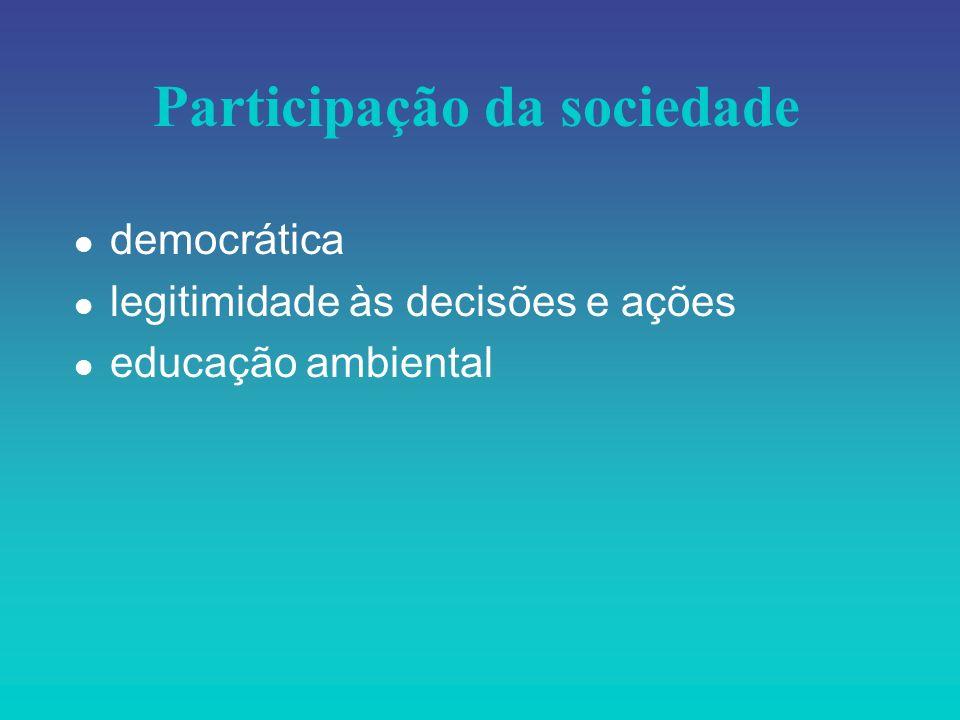Participação da sociedade l democrática l legitimidade às decisões e ações l educação ambiental
