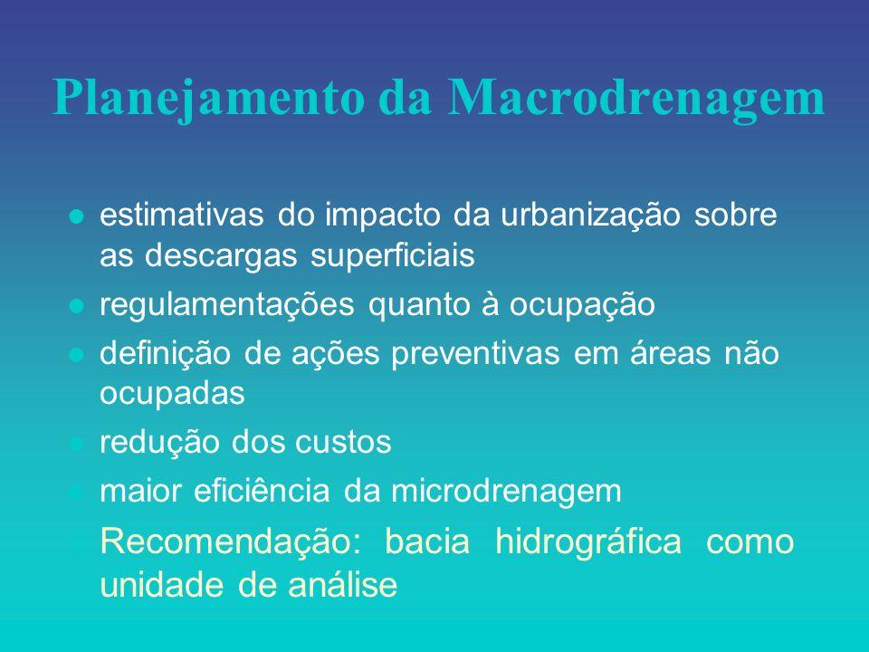Planejamento da Macrodrenagem l estimativas do impacto da urbanização sobre as descargas superficiais l regulamentações quanto à ocupação l definição