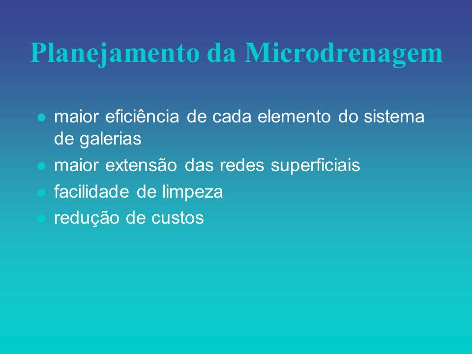 Planejamento da Microdrenagem l maior eficiência de cada elemento do sistema de galerias l maior extensão das redes superficiais l facilidade de limpe