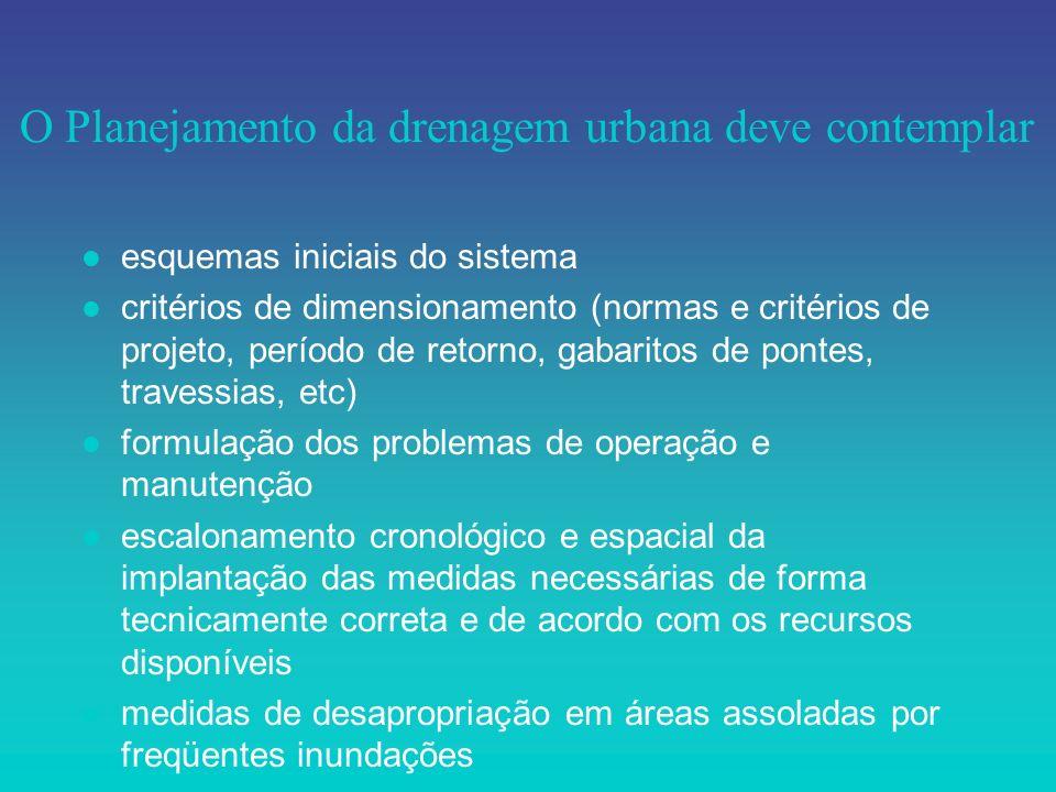 O Planejamento da drenagem urbana deve contemplar l esquemas iniciais do sistema l critérios de dimensionamento (normas e critérios de projeto, períod