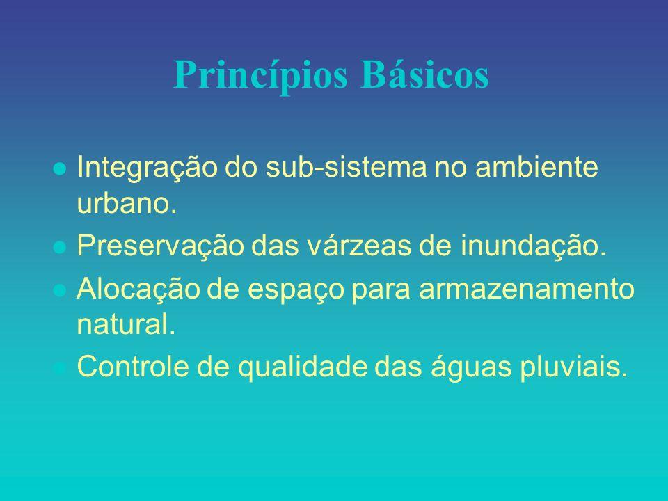 Princípios Básicos l Integração do sub-sistema no ambiente urbano. l Preservação das várzeas de inundação. l Alocação de espaço para armazenamento nat