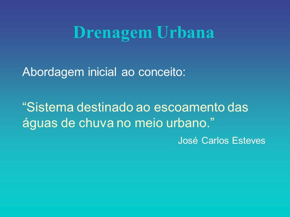 Drenagem Urbana Abordagem inicial ao conceito: Sistema destinado ao escoamento das águas de chuva no meio urbano. José Carlos Esteves