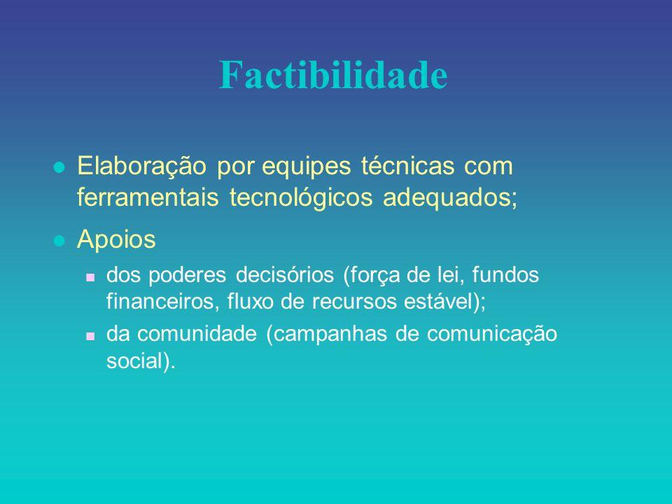 Factibilidade l Elaboração por equipes técnicas com ferramentais tecnológicos adequados; Apoios n dos poderes decisórios (força de lei, fundos finance