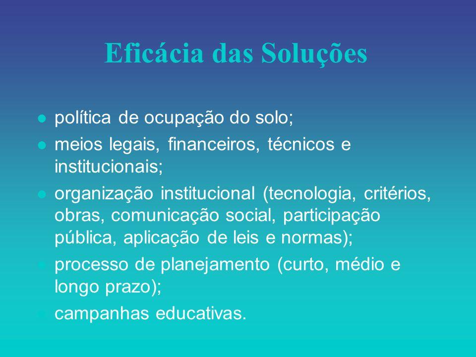 Eficácia das Soluções l política de ocupação do solo; l meios legais, financeiros, técnicos e institucionais; l organização institucional (tecnologia,