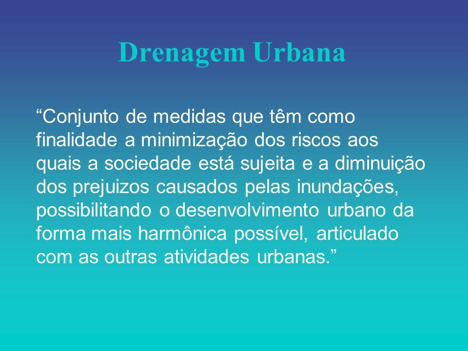 Drenagem Urbana Conjunto de medidas que têm como finalidade a minimização dos riscos aos quais a sociedade está sujeita e a diminuição dos prejuizos c