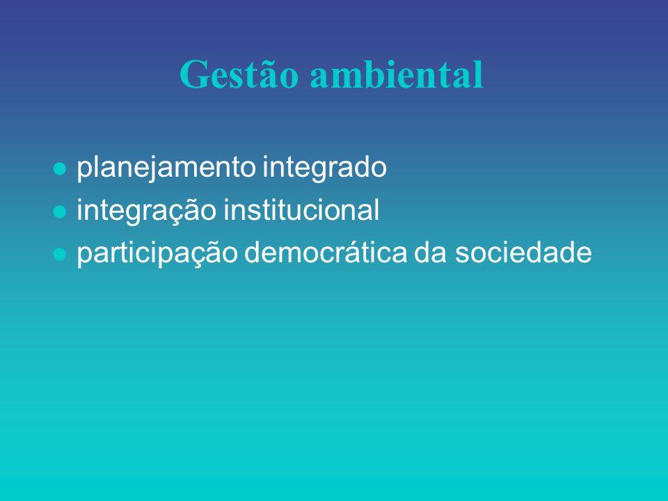 Gestão ambiental l planejamento integrado l integração institucional l participação democrática da sociedade