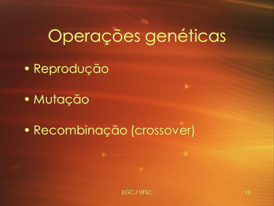 EGC / UFSC10 Operações genéticas Reprodução Mutação Recombinação (crossover) Reprodução Mutação Recombinação (crossover)