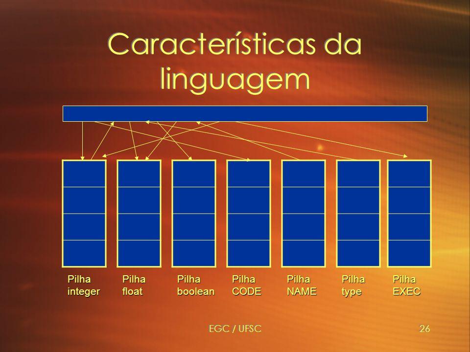 EGC / UFSC26 Características da linguagem PilhaintegerPilhafloatPilhabooleanPilhaCODEPilhaNAMEPilhatypePilhaEXEC
