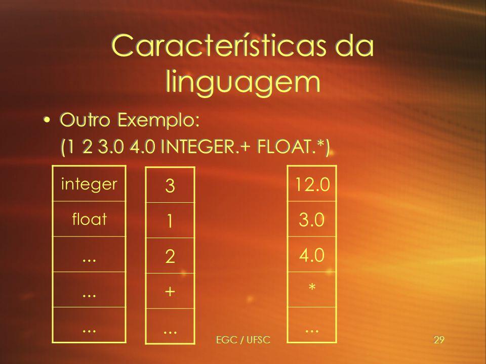 EGC / UFSC29 Características da linguagem Outro Exemplo: (1 2 3.0 4.0 INTEGER.+ FLOAT.*) Outro Exemplo: (1 2 3.0 4.0 INTEGER.+ FLOAT.*) 3 1 2 +...
