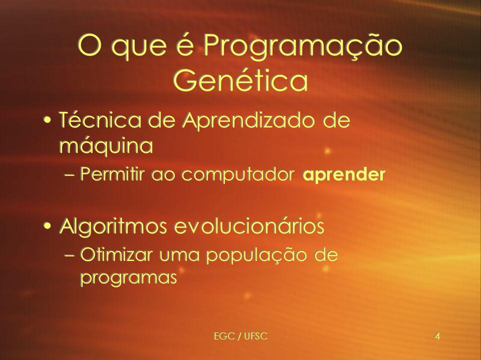 EGC / UFSC4 O que é Programação Genética Técnica de Aprendizado de máquina –Permitir ao computador aprender Algoritmos evolucionários –Otimizar uma população de programas Técnica de Aprendizado de máquina –Permitir ao computador aprender Algoritmos evolucionários –Otimizar uma população de programas