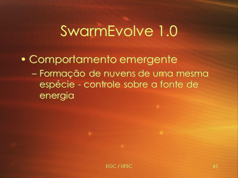 EGC / UFSC45 SwarmEvolve 1.0 Comportamento emergente –Formação de nuvens de uma mesma espécie - controle sobre a fonte de energia Comportamento emergente –Formação de nuvens de uma mesma espécie - controle sobre a fonte de energia