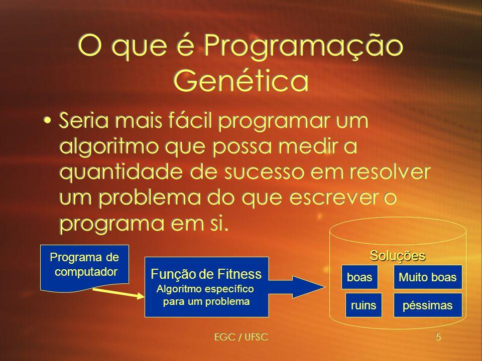 EGC / UFSC5 Soluções O que é Programação Genética Seria mais fácil programar um algoritmo que possa medir a quantidade de sucesso em resolver um problema do que escrever o programa em si.