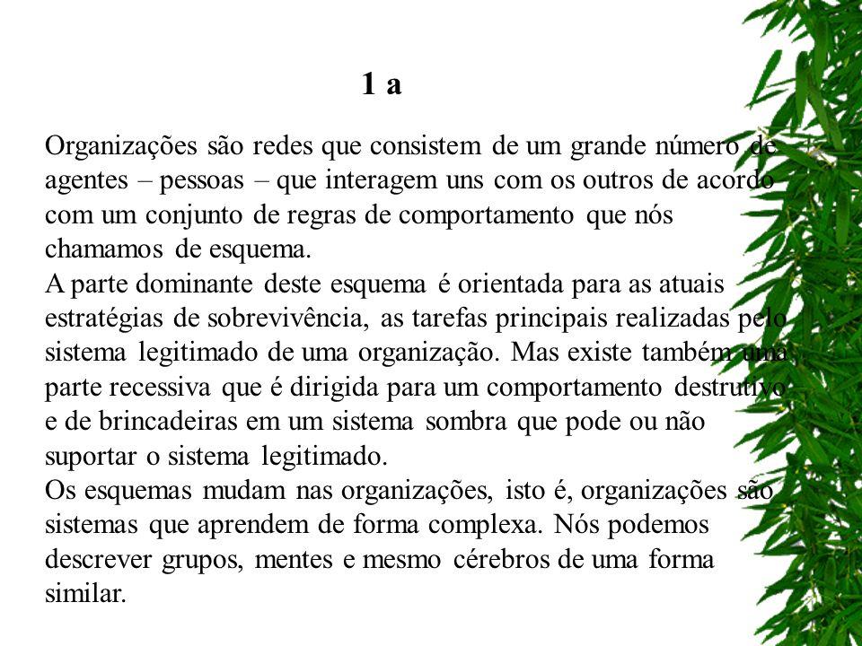Organizações são redes que consistem de um grande número de agentes – pessoas – que interagem uns com os outros de acordo com um conjunto de regras de
