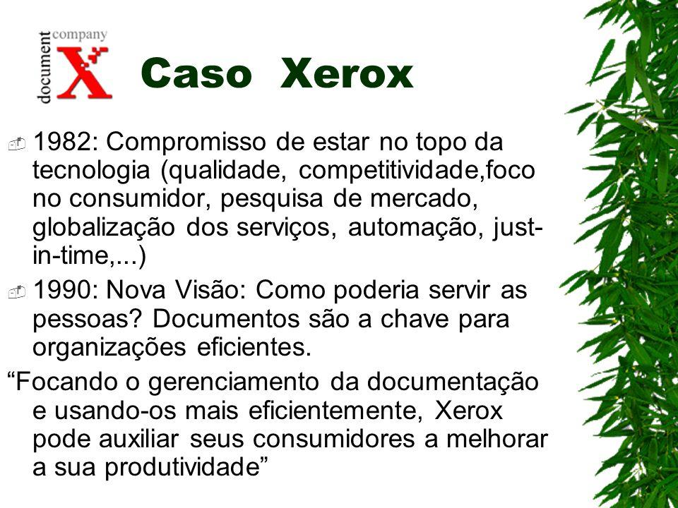 Caso Xerox 1982: Compromisso de estar no topo da tecnologia (qualidade, competitividade,foco no consumidor, pesquisa de mercado, globalização dos serv