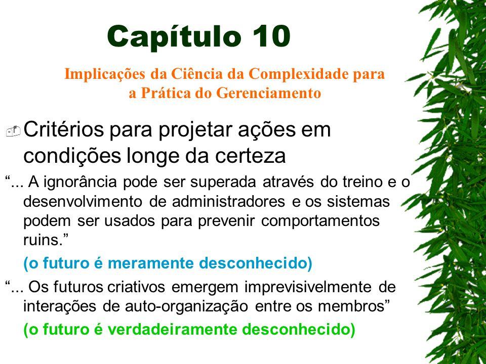 Capítulo 10 Critérios para projetar ações em condições longe da certeza... A ignorância pode ser superada através do treino e o desenvolvimento de adm