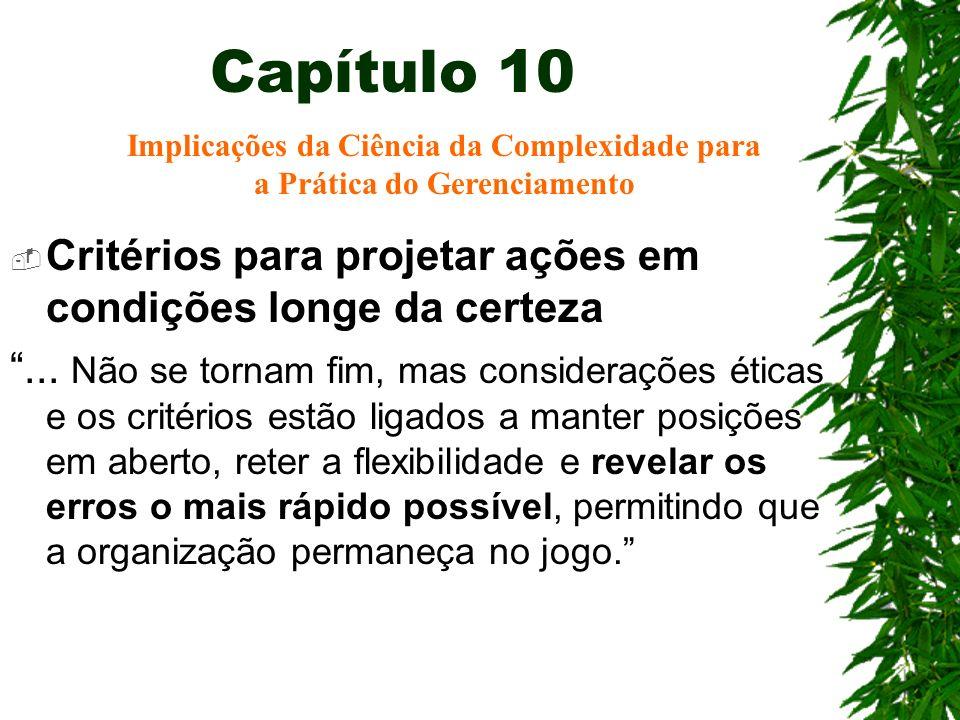 Capítulo 10 Critérios para projetar ações em condições longe da certeza... Não se tornam fim, mas considerações éticas e os critérios estão ligados a