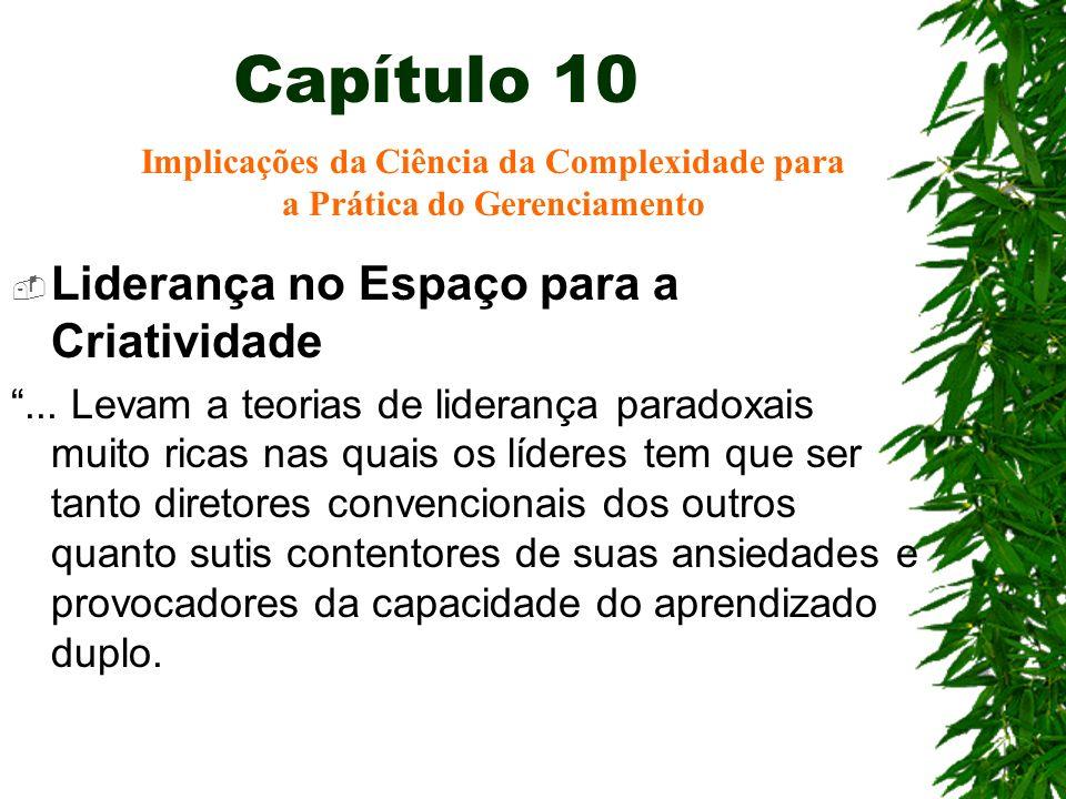Capítulo 10 Liderança no Espaço para a Criatividade... Levam a teorias de liderança paradoxais muito ricas nas quais os líderes tem que ser tanto dire