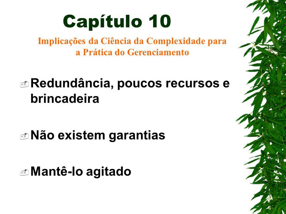 Capítulo 10 Redundância, poucos recursos e brincadeira Não existem garantias Mantê-lo agitado Implicações da Ciência da Complexidade para a Prática do