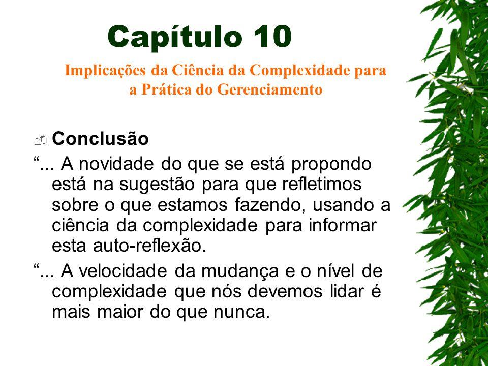 Capítulo 10 Conclusão... A novidade do que se está propondo está na sugestão para que refletimos sobre o que estamos fazendo, usando a ciência da comp