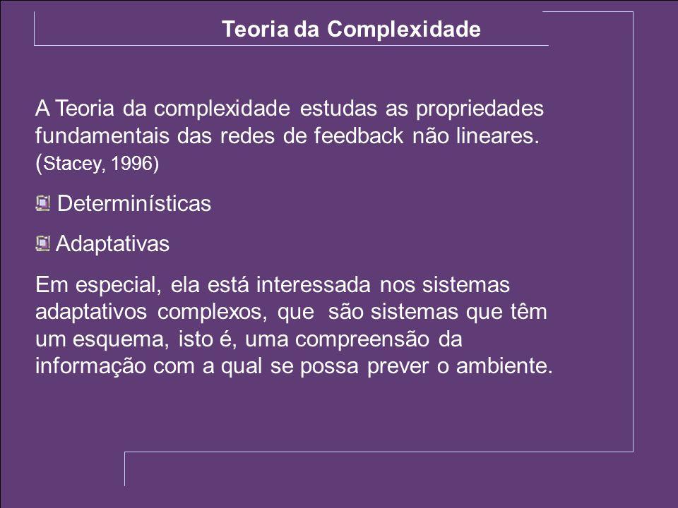A Teoria da complexidade estudas as propriedades fundamentais das redes de feedback não lineares. ( Stacey, 1996) Determinísticas Adaptativas Em espec