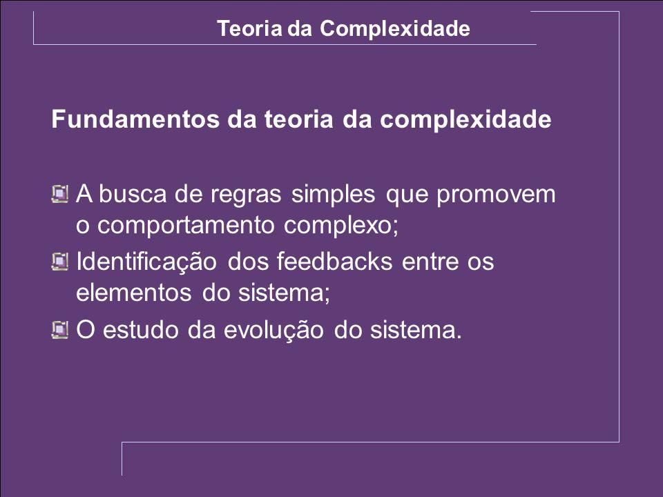 Fundamentos da teoria da complexidade A busca de regras simples que promovem o comportamento complexo; Identificação dos feedbacks entre os elementos