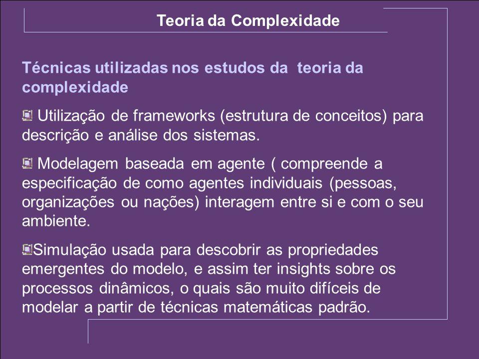 Técnicas utilizadas nos estudos da teoria da complexidade Utilização de frameworks (estrutura de conceitos) para descrição e análise dos sistemas. Mod