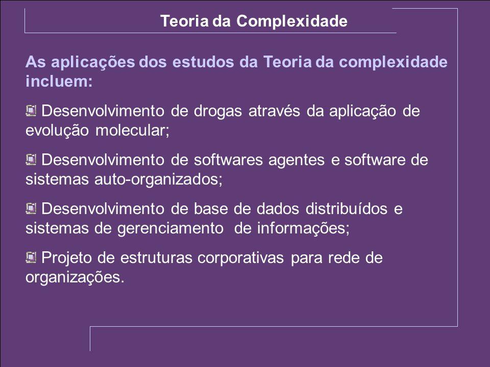 As aplicações dos estudos da Teoria da complexidade incluem: Desenvolvimento de drogas através da aplicação de evolução molecular; Desenvolvimento de