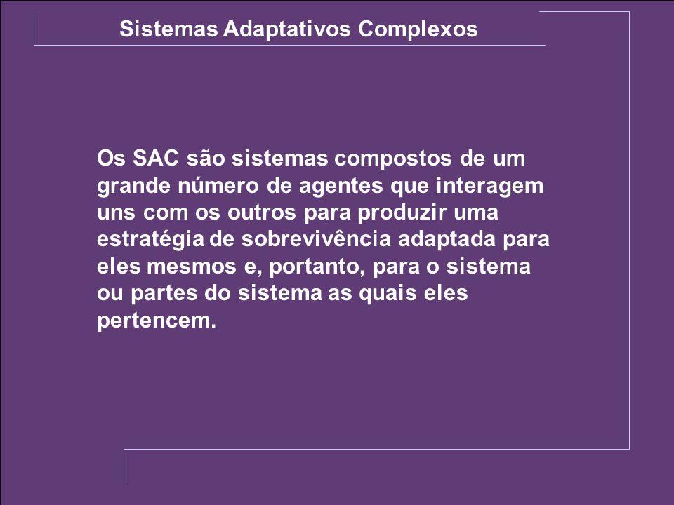 Sistemas Adaptativos Complexos Os SAC são sistemas compostos de um grande número de agentes que interagem uns com os outros para produzir uma estratég