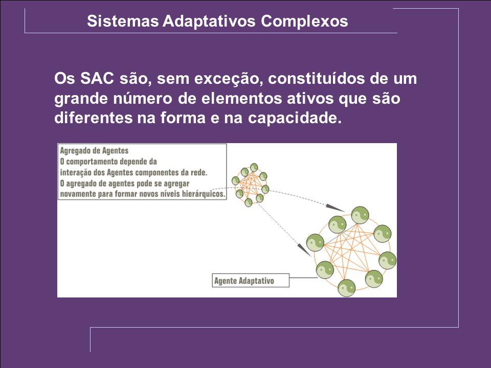 Os SAC são, sem exceção, constituídos de um grande número de elementos ativos que são diferentes na forma e na capacidade. Sistemas Adaptativos Comple