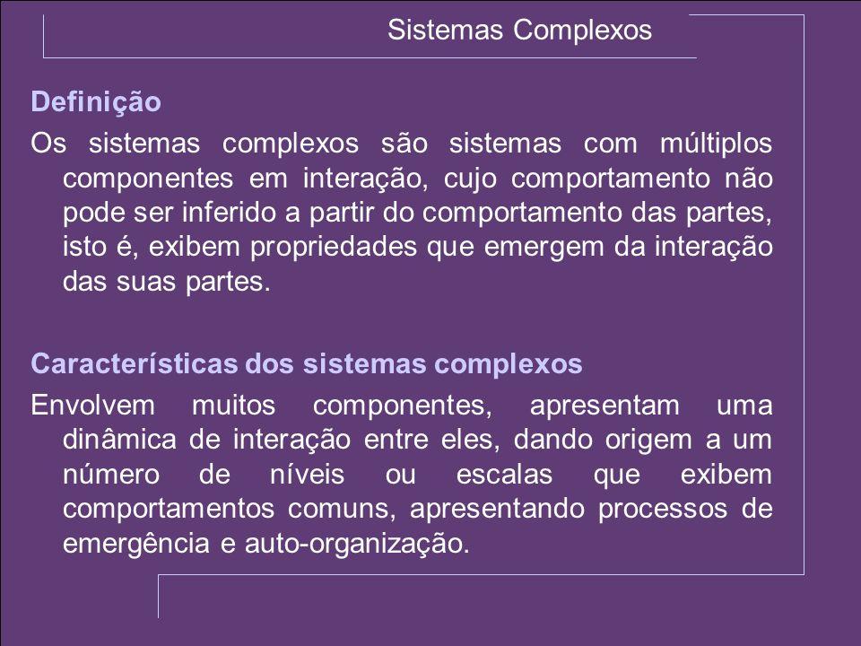 Sistemas Complexos Definição Os sistemas complexos são sistemas com múltiplos componentes em interação, cujo comportamento não pode ser inferido a par