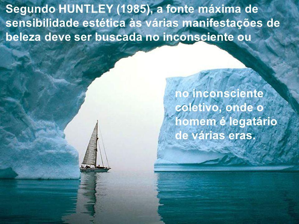 Segundo HUNTLEY (1985), a fonte máxima de sensibilidade estética às várias manifestações de beleza deve ser buscada no inconsciente ou no inconsciente