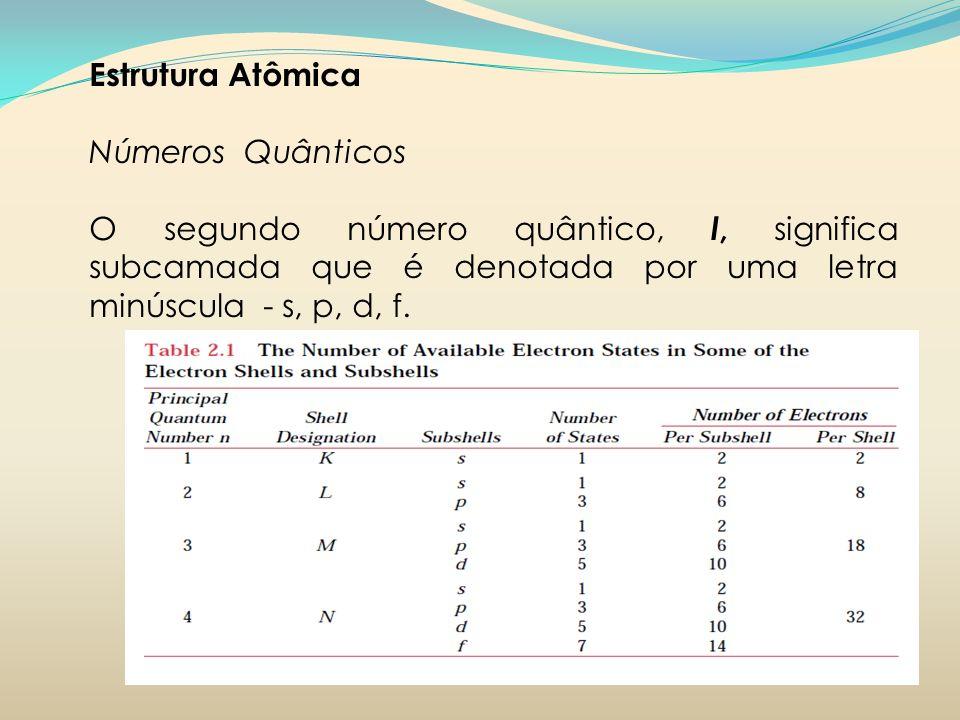 Estrutura Atômica Números Quânticos O segundo número quântico, l, significa subcamada que é denotada por uma letra minúscula - s, p, d, f.
