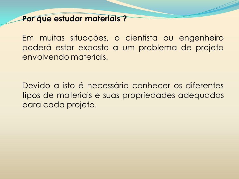 Por que estudar materiais ? Em muitas situações, o cientista ou engenheiro poderá estar exposto a um problema de projeto envolvendo materiais. Devido