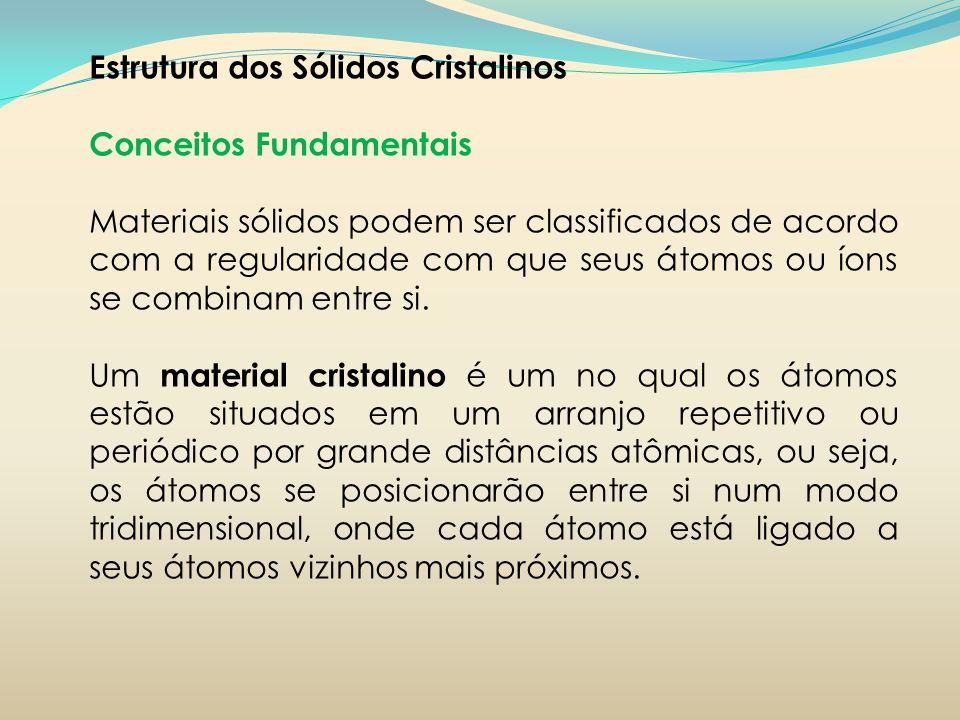 Estrutura dos Sólidos Cristalinos Conceitos Fundamentais Materiais sólidos podem ser classificados de acordo com a regularidade com que seus átomos ou