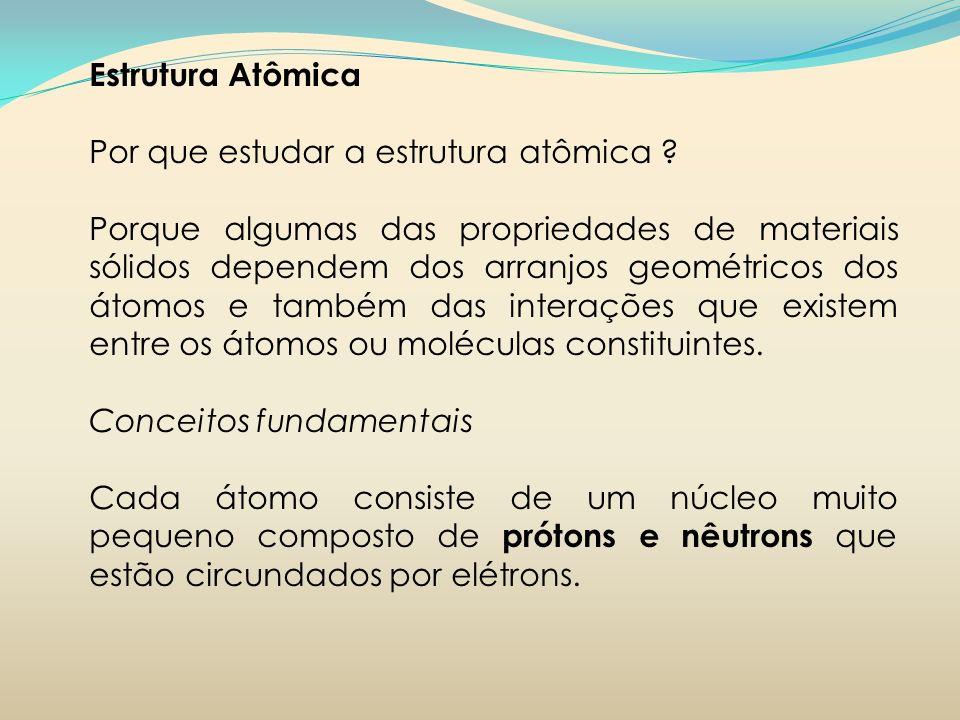 Estrutura Atômica Por que estudar a estrutura atômica ? Porque algumas das propriedades de materiais sólidos dependem dos arranjos geométricos dos áto