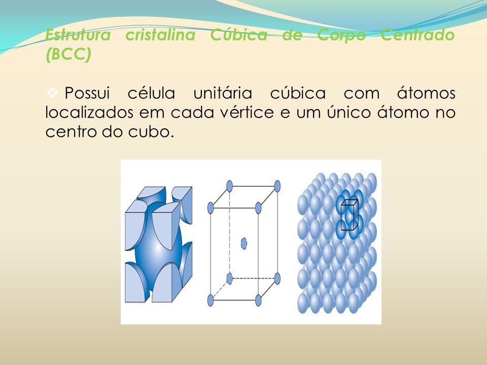 Estrutura cristalina Cúbica de Corpo Centrado (BCC) Possui célula unitária cúbica com átomos localizados em cada vértice e um único átomo no centro do