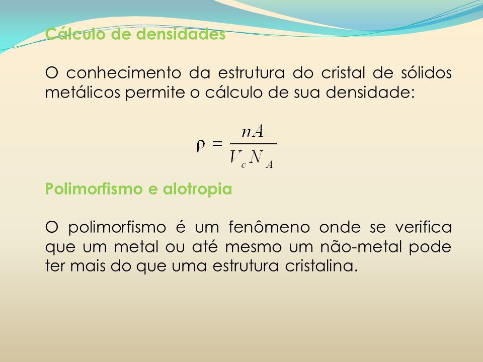 Cálculo de densidades O conhecimento da estrutura do cristal de sólidos metálicos permite o cálculo de sua densidade: Polimorfismo e alotropia O polim