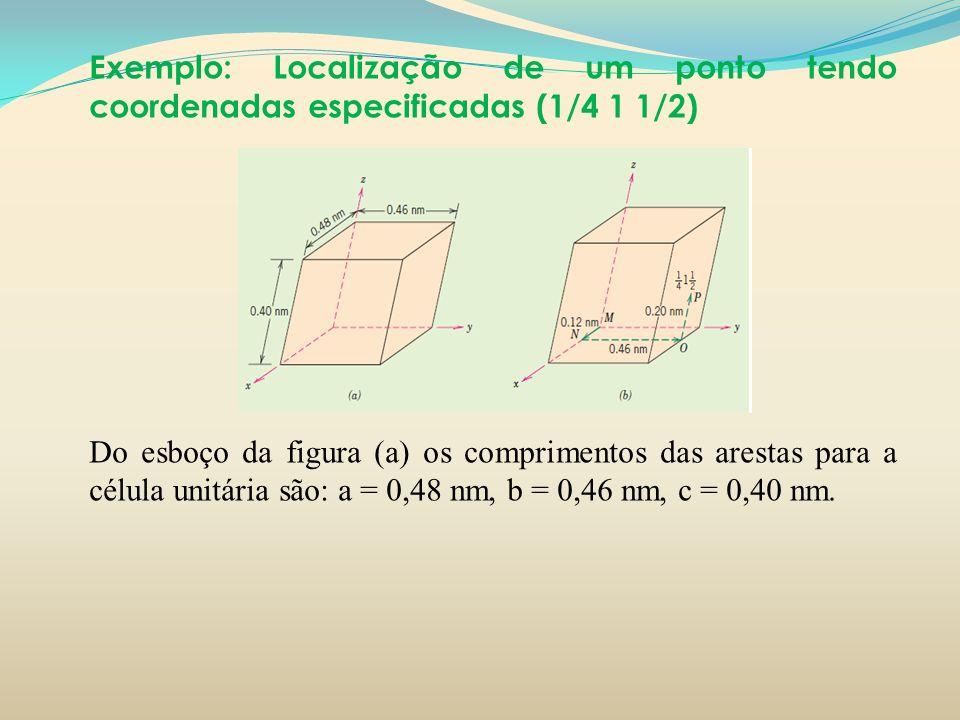 Exemplo: Localização de um ponto tendo coordenadas especificadas (1/4 1 1/2) Do esboço da figura (a) os comprimentos das arestas para a célula unitári