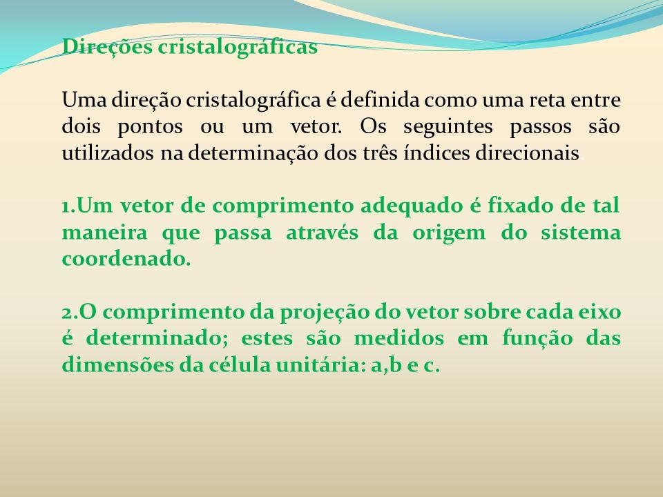 Direções cristalográficas Uma direção cristalográfica é definida como uma reta entre dois pontos ou um vetor. Os seguintes passos são utilizados na de
