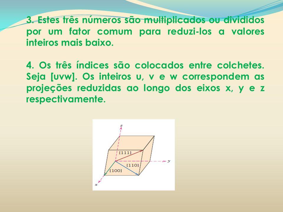 3. Estes três números são multiplicados ou divididos por um fator comum para reduzi-los a valores inteiros mais baixo. 4. Os três índices são colocado