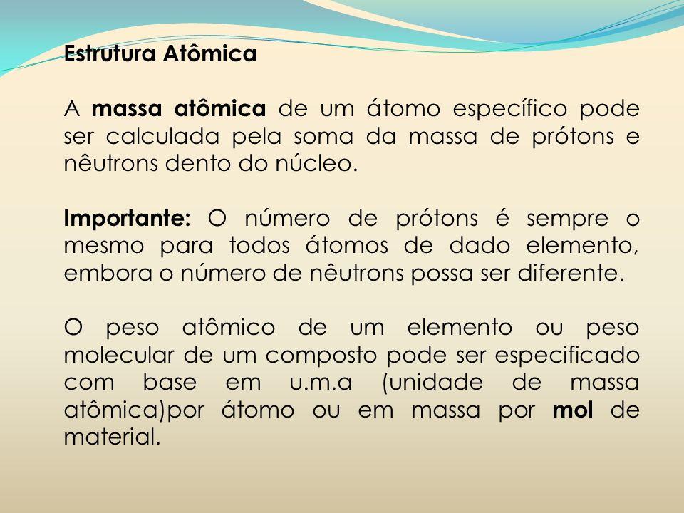 Estrutura Atômica A massa atômica de um átomo específico pode ser calculada pela soma da massa de prótons e nêutrons dento do núcleo. Importante: O nú