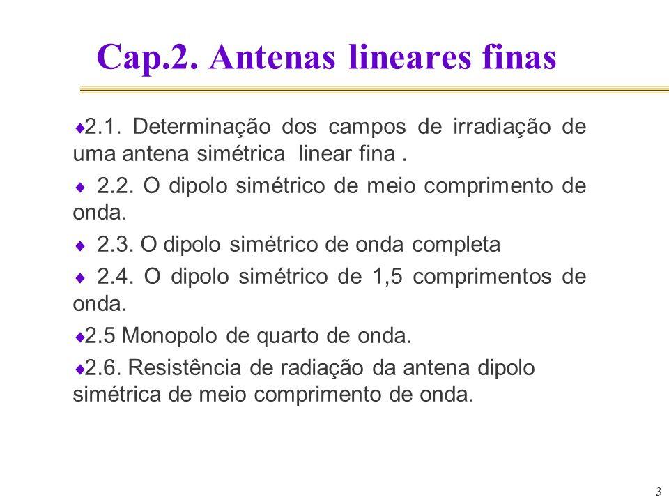 Cap.2. Antenas lineares finas 3 2.1. Determinação dos campos de irradiação de uma antena simétrica linear fina. 2.2. O dipolo simétrico de meio compri