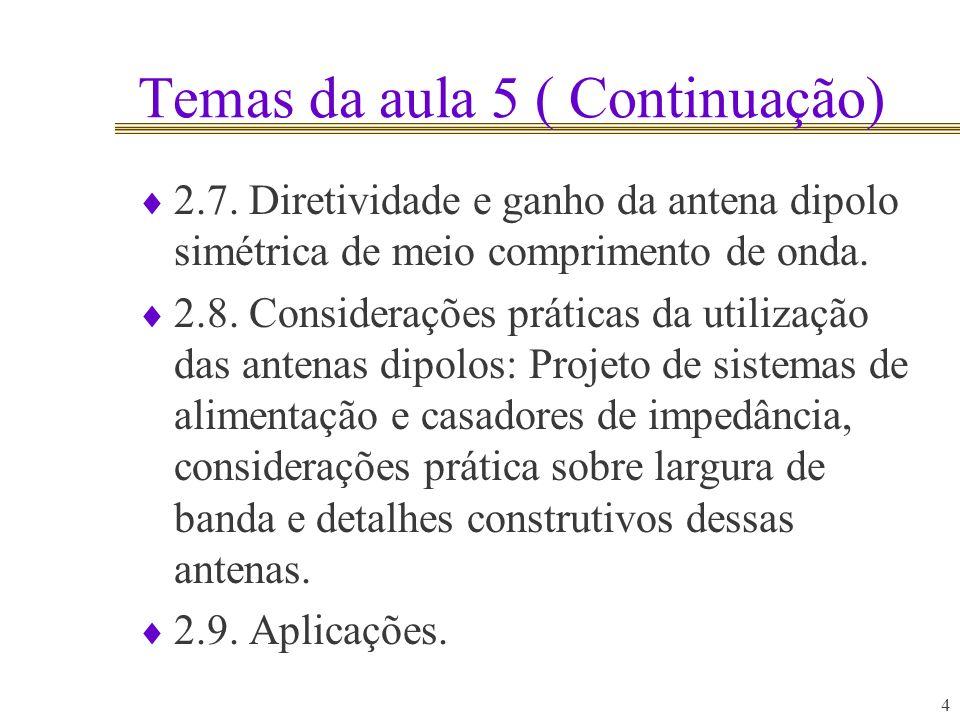 4 Temas da aula 5 ( Continuação) 2.7. Diretividade e ganho da antena dipolo simétrica de meio comprimento de onda. 2.8. Considerações práticas da util