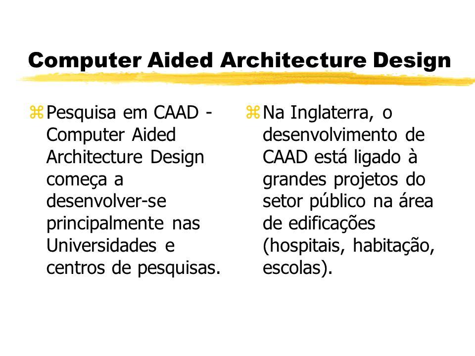 Computer Aided Architecture Design zPesquisa em CAAD - Computer Aided Architecture Design começa a desenvolver-se principalmente nas Universidades e centros de pesquisas.
