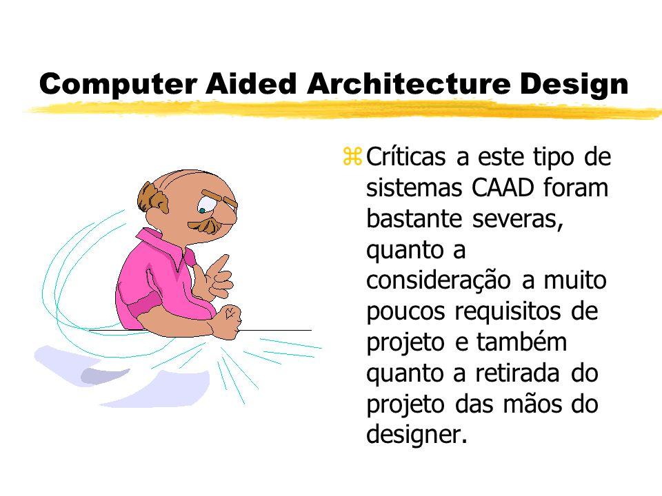 Computer Aided Architecture Design z Críticas a este tipo de sistemas CAAD foram bastante severas, quanto a consideração a muito poucos requisitos de projeto e também quanto a retirada do projeto das mãos do designer.