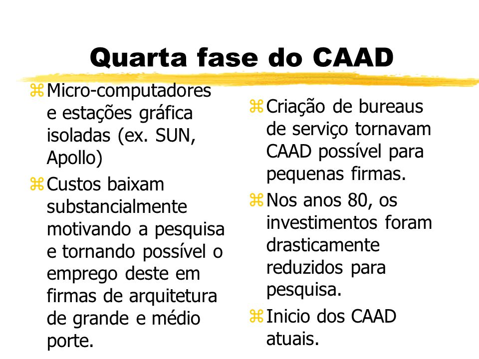 Quarta fase do CAAD zMicro-computadores e estações gráfica isoladas (ex.